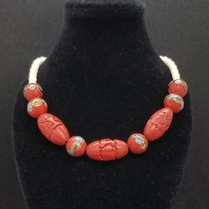 Red cinnabar cloissoné Chinese bead necklace